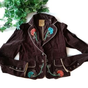 LUSH brown corduroy floral embroidered blazer …